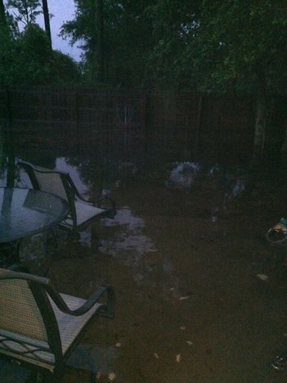 Aiden's yard and home was flooded!